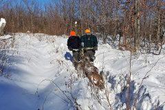 north-maine-deer-hunting-Skylar2018Buck1DraggingWithDad